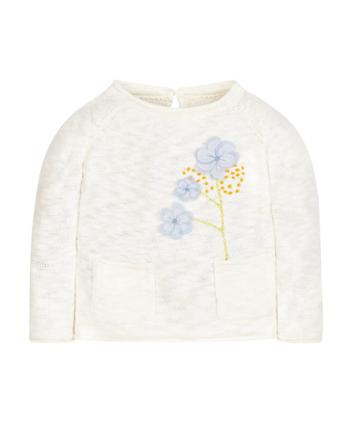 Cream Knitted Flower Jumper