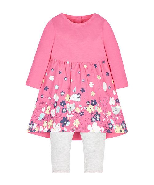 Pink Cat Dress And Leggings Set