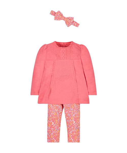 Pink Tunic, Leggings And Hairband Set