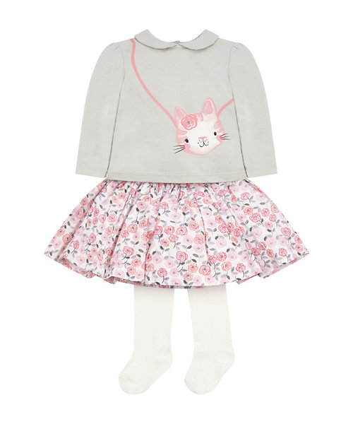 Kitten Bag T-Shirt, Skirt And Tights Set