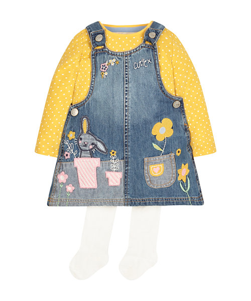 Denim Pinny Dress, T-Shirt And Tights Set