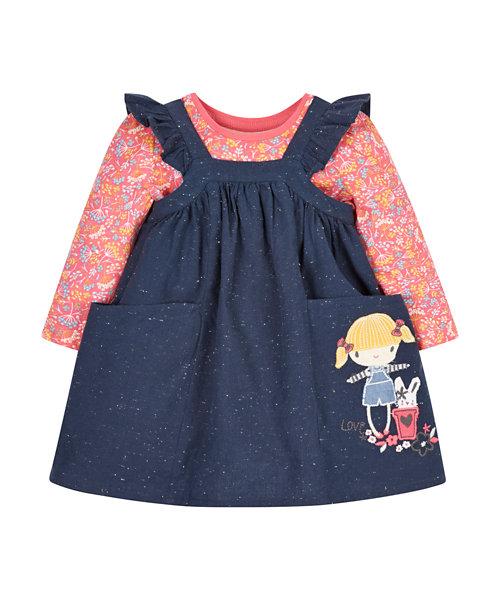 Navy Pinny Dress And T-Shirt Set