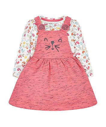 Pink Pinny Dress And T-Shirt Set