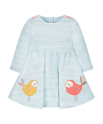 Teal Bird Jersey Dress