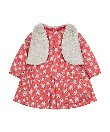 Pink Cat Dress With Gilet