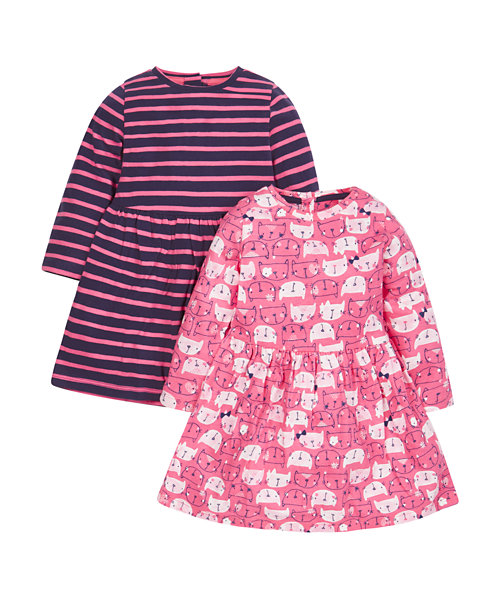 Cat And Striped Dresses - 2 Pack
