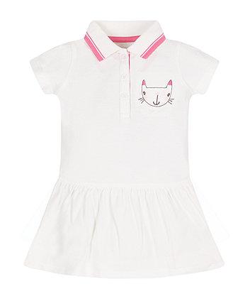 White Pique Polo Dress