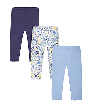 Floral Blue Leggings - 3 Pack