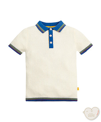 Little Bird By Jools Rainbow Sleeve Knitted Polo Top