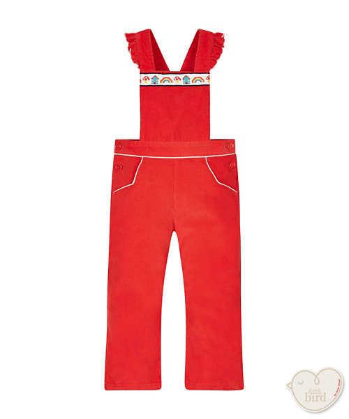 Little Bird By Jools Red Embroidered Dungarees