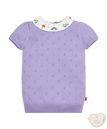 Little Bird By Jools Knitted Ruffel Collar Blouse