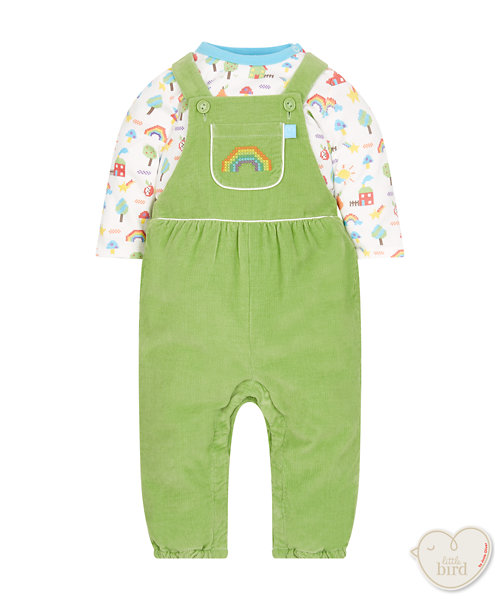 Little Bird By Jools Cord Dungarees And Bodysuit Set