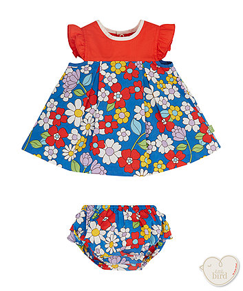 Little Bird Big Floral Smock Dress And Bloomer Set