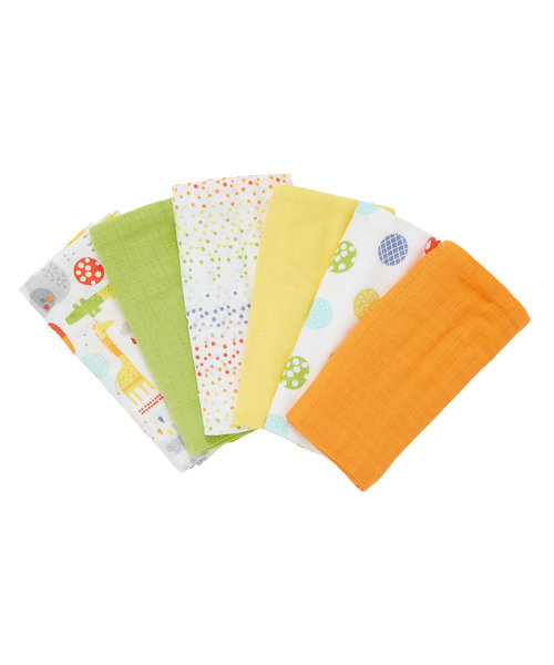 Mothercare Safari Muslins - 6 Pack