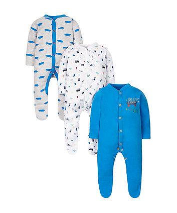 Little Skater Sleepsuits - 3 Pack