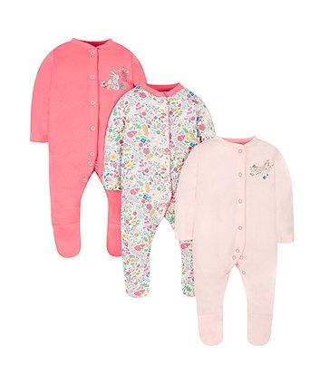 Woodland Sleepsuits - 3 Pack