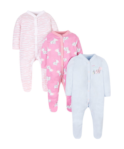 Novelty Zebra Sleepsuits - 3 Pack