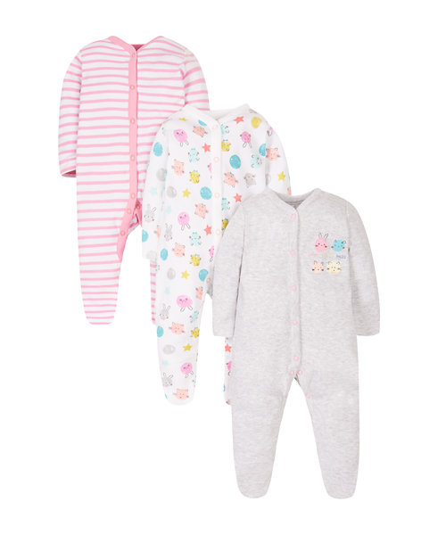 Happy Faces Sleepsuits - 3 Pack