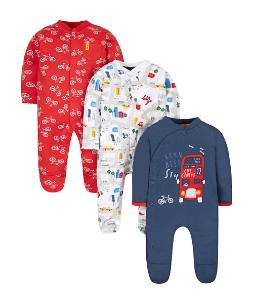 City Streets Sleepsuits - 3 Pack