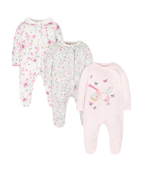 Floral Butterfly Sleepsuits - 3 Pack