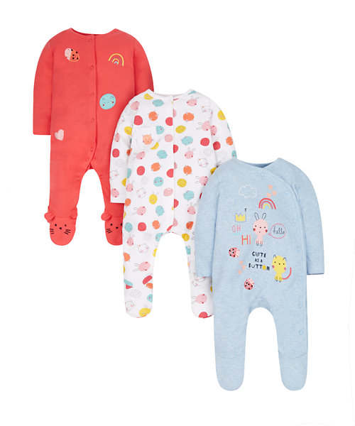 Cute As A Button Sleepsuits - 3 Pack