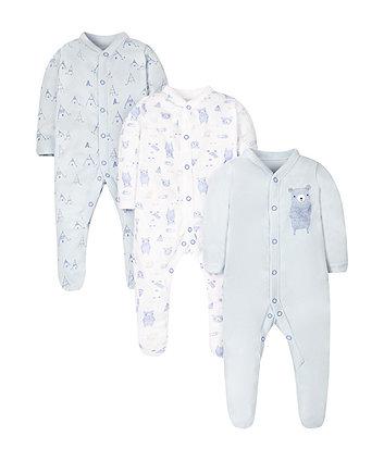Little Bear Sleepsuits - 3 Pack