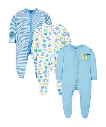 Happy Animals Sleepsuits - 3 Pack