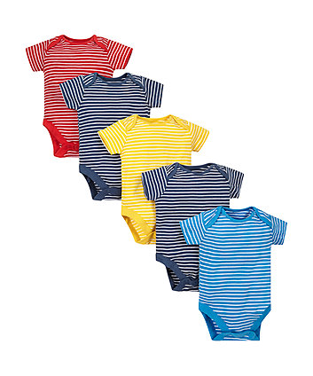 Striped Bodysuits - 5 Pack