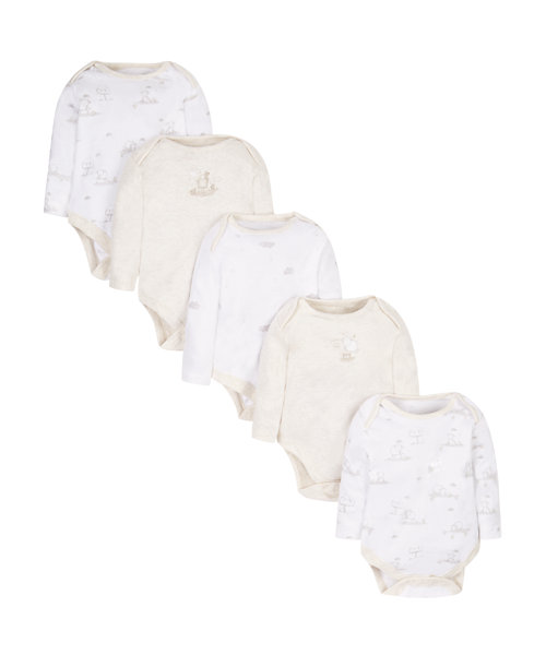 My First Little Lamb Long Sleeve Bodysuits - 5 Pack
