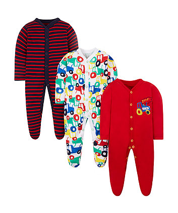 Tractor Sleepsuits - 3 Pack