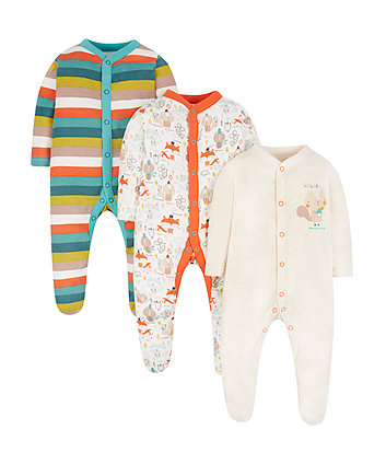 Forest Friends Sleepsuits - 3 Pack