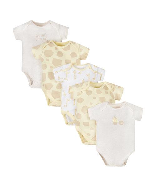 Little Giraffe Bodysuits - 5 Pack