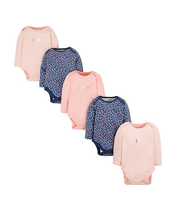 Floral And Bunny Bodysuits - 5 Pack