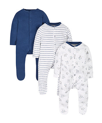 Starry Sleepsuits - 3 Pack