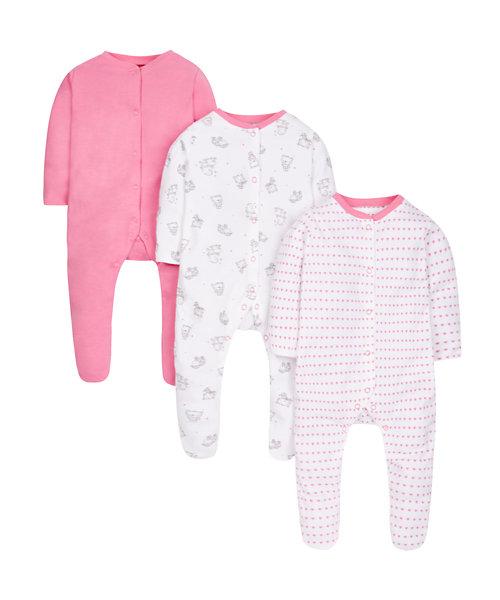 Pink Lamb Sleepsuits - 3 Pack