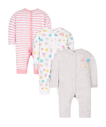 Happy Faces Footless Sleepsuits - 3 Pack