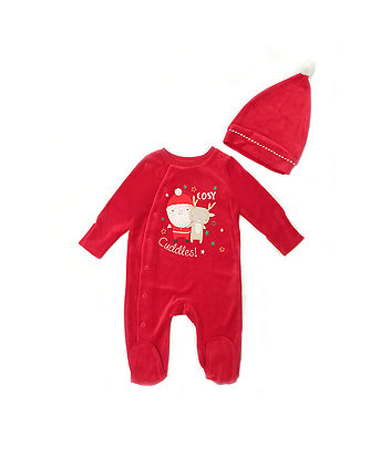 Christmas Velour All In One With Hat