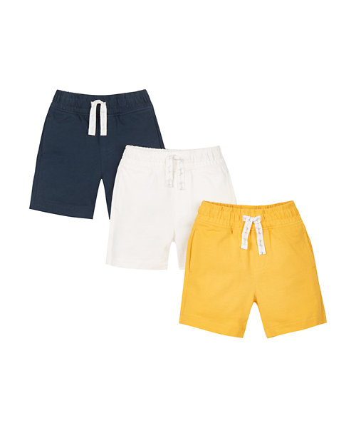 Navy, Yellow And White Shorts - 3 Pack