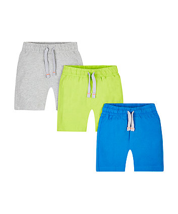 Blue, Grey Marl And Lime Green Shorts - 3 Pack