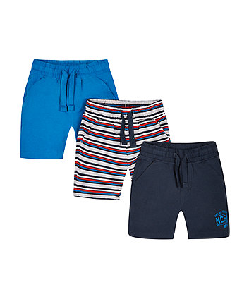 Navy, Blue And Striped Shorts - 3 Pack