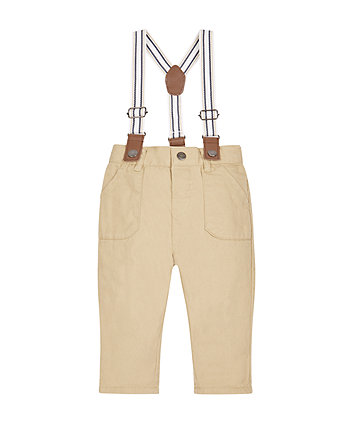 Stone Twill Trousers With Braces