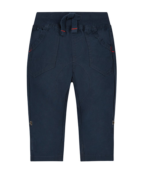 Navy Ribwaist Roll Up Trousers