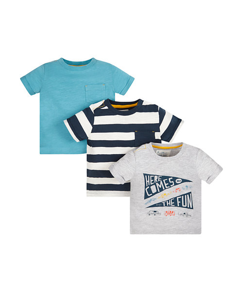 Here Comes The Fun, Striped And Blue T-Shirts - 3 Pack