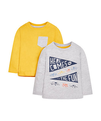 Here Comes The Fun And Yellow T-Shirts - 2 Pack
