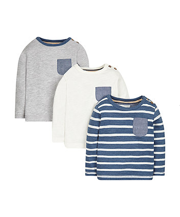 Plain And Striped T-Shirts - 3 Pack