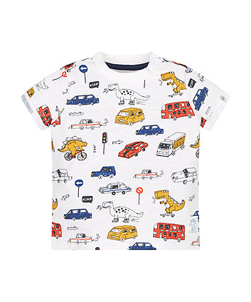 Vehicle And Dino Print T-Shirt