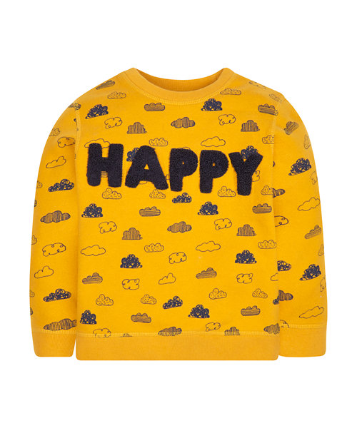 Yellow Happy Cloud Sweat Top