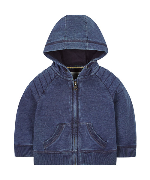 Indigo Zip Through Hoody