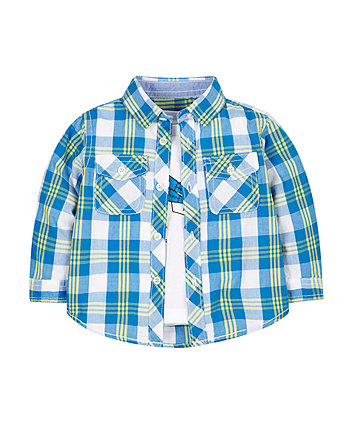 Space Checked Shirt And Tee Set