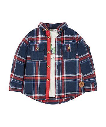 Check Shirt And Tree Tops T-Shirt Set
